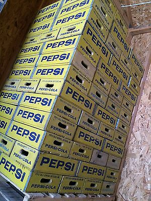 Vintage Yellow Pepsi Cola Wood Soda Pop Crate Crates Near Mint Condition