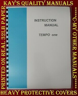 High Quality Tempo One Instruction Manual w/Schematic ***ON 32 LB Paper***