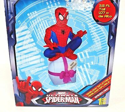 MARVEL ULTIMATE SPIDERMAN SPIDER MAN 3.5 ft LIGHTED INFLATABLE HAPPY BIRTHDAY !