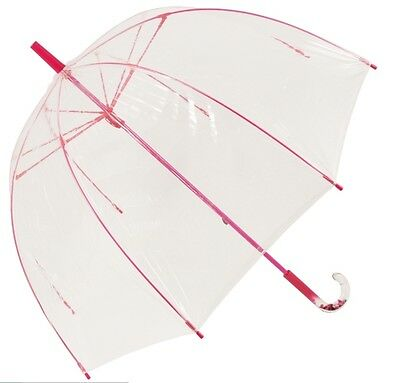 Ladies Clear Pinky Dome Bubble Wedding Umbrella Superior Quality By Lindy Lou