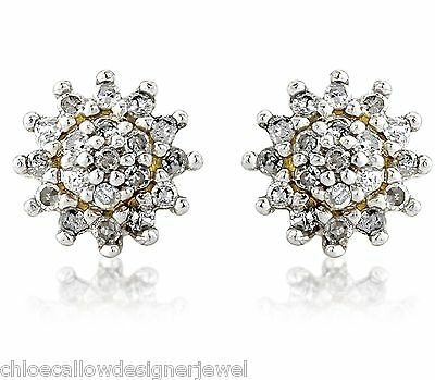 1x Pair of 9ct Yellow Gold 4mm 0.2ct Diamond Set Ear Studs Earrings + gift bag