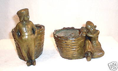 PR OF 19c FRENCH BRONZE BOY GIRL PLANTERS, CANDY DISHES