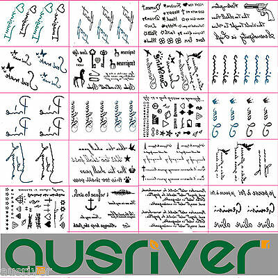 20xRemovable Black Temporary Letter Fake Tattoo Sticker Sexy Body Art Waterproof
