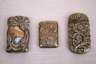 Magnificent 3P Collection Of Art Nouveau Sterling Silver Match Strike Boxes