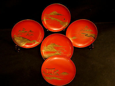 "4 1/4"" D Japanese Meiji  Lacquered Wood Miniature Shallow Dish / Plate  Set Of 5"