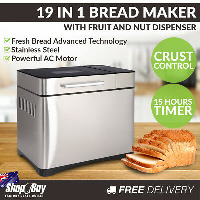 Stainless Steel 19in1 Bread Maker Fruit Nut Dispenser Yogurt Jam Doughnut Oven