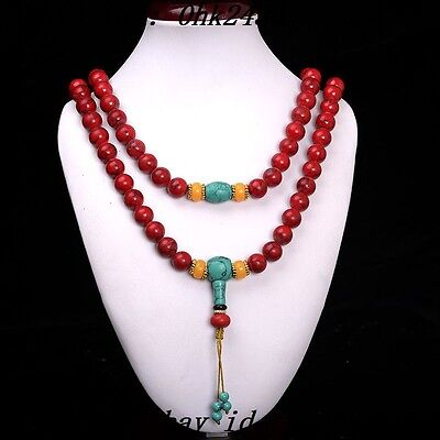 China Collectibles handwork old Red Coral & Beeswax toyed prayer Bead Necklace