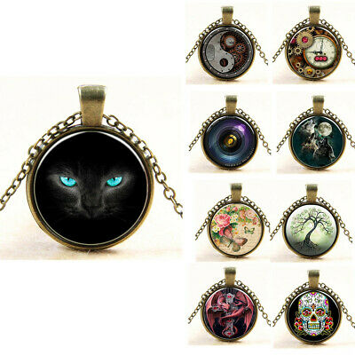 Womens Vintage Cabochon Dome Bronze Glass Chain Pendant Necklace Xmas Gift