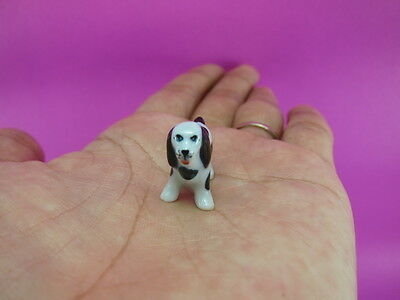 Adorable Basset Hound dogs miniature ceramic figurine Handmade Collectible gift