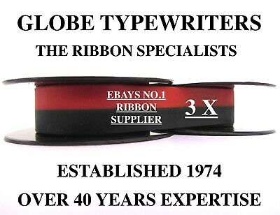 3 x 'W H SMITH GREY FOX' BLACK/RED TOP QUALITY *10 METRE* TYPEWRITER RIBBONS