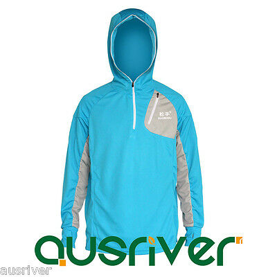 Men's Hoodie Jacket Outdoor Sun Clothes Fishing Anti UV Quick Dry LongsleeveBlue
