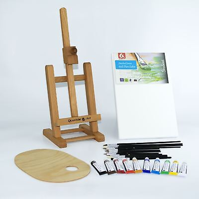 "25pcs Set Wooden 16"" Easel Acrylic Oil Watercolour Paints Brushes Wooden Palette"