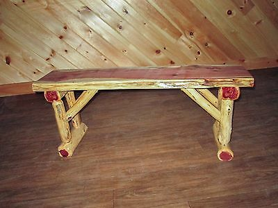 Tremendous Rustic Dining Table Bench 6 Ft Long Amish Made Benches Log Squirreltailoven Fun Painted Chair Ideas Images Squirreltailovenorg