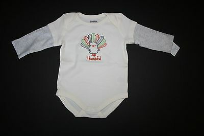 New Gymboree Boy Girl Thanksgiving Ivory Thankful Bodysuit Size 3-6 M NWT Turkey