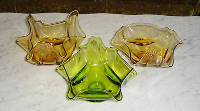 3 Vintage Viking Flare Stretch Art Glass Amber & Green Candy Dishes