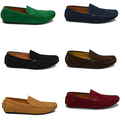 Mens Italian Faux Suede Loafers  Driving Casual Party Slip On Shoes