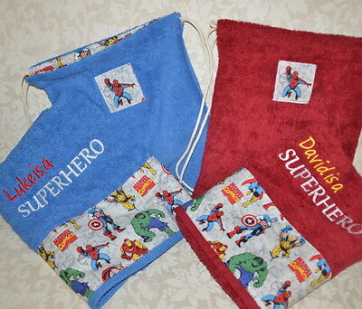 Personalized Towel & Bag Set for Boys, Super Hero Theme Birthday Gift for Boys