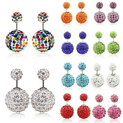 1Pair Jewelry Colorful Double Sided Ball Crystal Beads Ear Stud Earrings 14mm