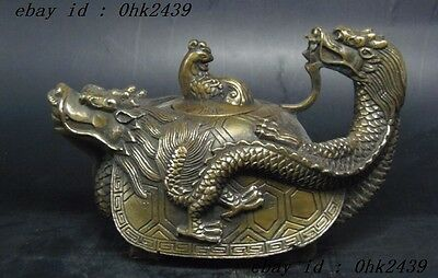 Handwork chinese Old copper Carved Dragon Phoenix turtle head cover Teapot