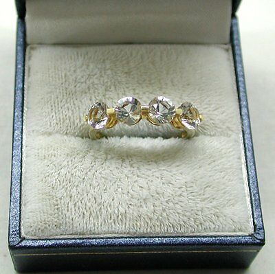 Very Nice Ladies 9ct Gold Four Stone White Quartz Ring