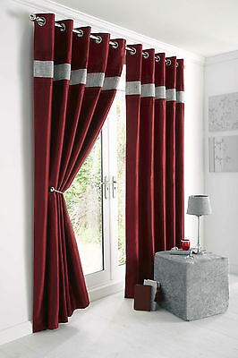 """RED WINE DIAMANTÉ TRIM 66"""" x 72"""" LINED EYELET READY MADE CURTAINS POLYESTER"""
