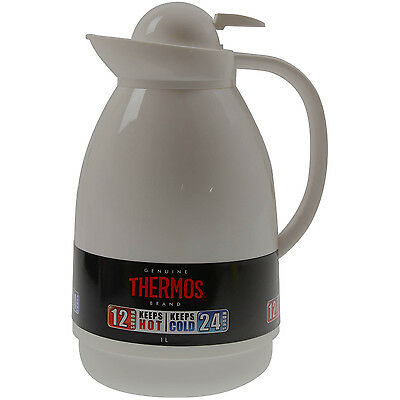 Thermos 1 Litre White Patio Carafe Insulated Hot Drinks Coffee Tea Vacuum Flask