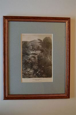 Original Antique Framed Print Devils Bridge Cardiganshire Wales Circa.1815 26