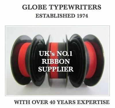 3 x 'IMPERIAL 200' *BLACK/RED* TOP QUALITY *10M* TYPEWRITER RIBBONS + EYELETS