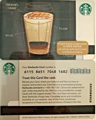 """New 2015 Starbucks """"coffee Blueprint"""" Gift Card Limited Edition No Value Mint"""