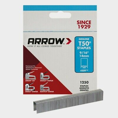 "Box of 1250 #509 Arrow Staples 9/16"" 14mm For T50 Manual & Electric Staples Guns"