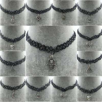 Tattoo Choker Stretch Necklace Black Retro Henna Vintage Elastic Boho 90s Gothic