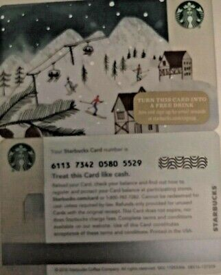 """2015 Starbucks """"skiing"""" Gift Card Limited Edition No Value Mint"""