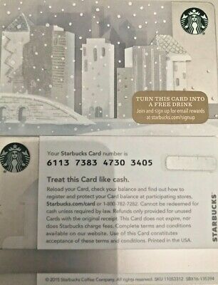 "2015 Starbucks ""snowy City"" Gift Card Limited Edition No Value Mint"