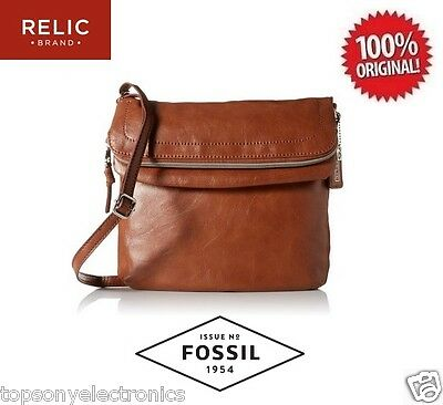 New Relic Cora East West Flap Crossbody Bag by Fossil - Cognac (Double Zipper)