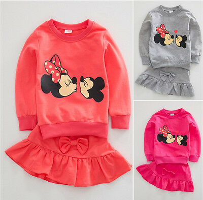 Cute Baby Girls Kids Clothes Minnie Mouse Hoodie Tops + Skirt 2PCS Outfits Set