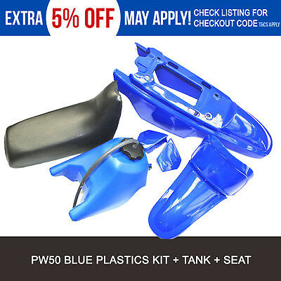 TDR BLue COVER PLASTIC BLK SEAT TANK PW PY 50 FENDER 50CC FOR YAMAHA PW50 PY50