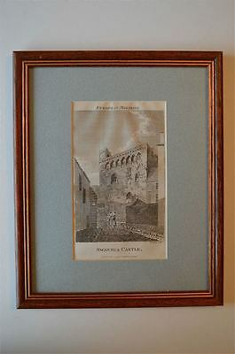 Original Antique Framed Print Swansea Castle Wales Circa.1793 48