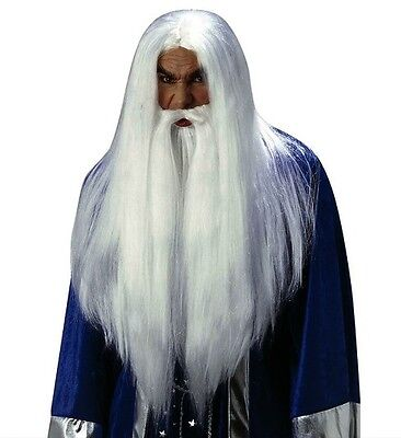 Deluxe White Wizard Wig Gandalf Dumbledore Merlin Thones Fancy Dress Halloween