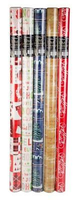 5 X 10M Rolls Christmas Xmas Wrapping Paper Assorted Designs Santa Bell Snowman