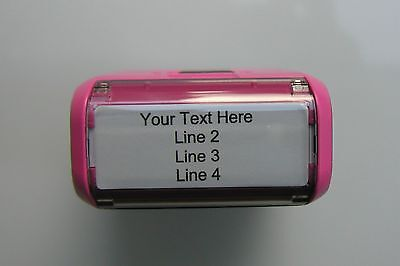 Return Address Self-Inking Rubber Stamper Pink - Customize up to 4 lines of text
