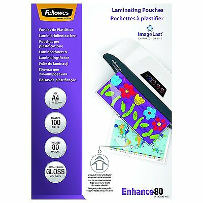 Fellowes ImageLast A4 80 Micron Laminating Pouch - (Pack of 100) NEW FREE P&P