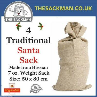 4 Traditonal Plain Santa Sacks made from Hessian 50x80cm 7oz Natural Brown Jute