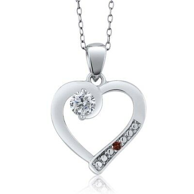 0.27 Ct Round G/H Diamond Red Garnet 925 Sterling Silver Pendant