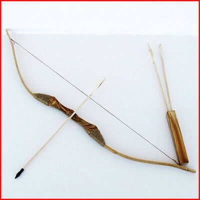 Wooden Bow with 3 Arrows and A Quiver Children Kids Archery Hunting Sporting Toy