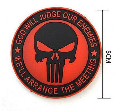 FD3281 Navy Seals The Punisher Red Badge 3D PVC Rubber Military Tactical