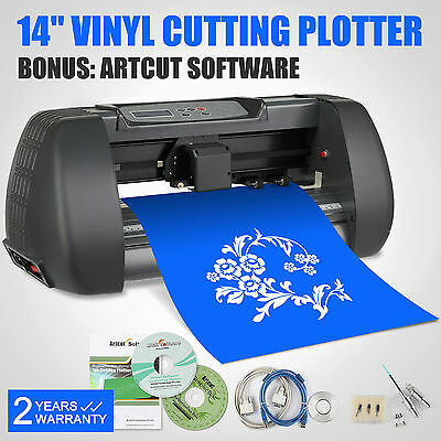 "Vinyl Sign Sticker Cutter Plotter Machine 14"" With Contour Cut 3 Blades"
