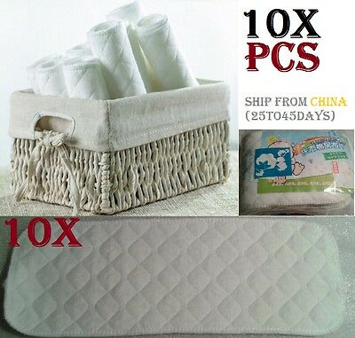 10X Washable inserts Baby Diapers 100% Cotton Cloth Diaper Layer Insert liner