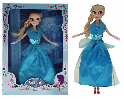 1 x Puppe Prinzessin blond 28 cm Kleid hellblau Princess Sweet Winter Dreams