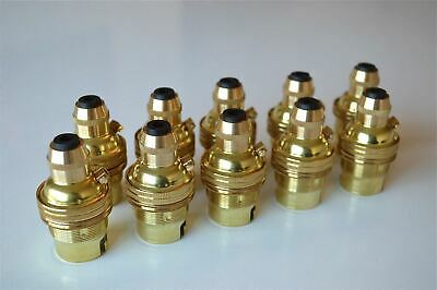 10 Brass Bayonet Fitting Bulb Holder Cord Grip Lamp Holder Earthed Shade Ring G3
