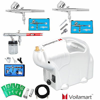 1/8HP Airbrush Compressor Kit 3 Dual Action Air Brush Spray Gun Stencils Set